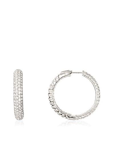 Daniela Swaebe Silver-Tone Midi Pave Crystal Hoop Earrings As You See