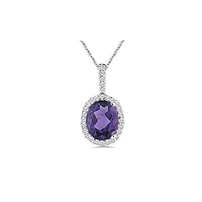 0.17 Cts Diamond & 0.6 Cts Amethyst Pendant in Platinum