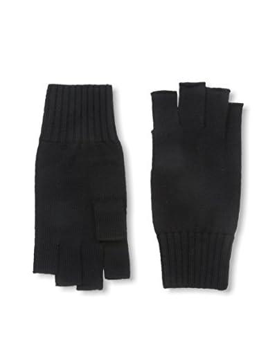 Portolano Men's Merino Fingerless Knit Gloves, Black