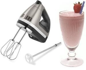 New Kitchenaid Hand Mixer Khm620Acs 6 Speed Silver Milk Shake Attachment Nib One Day Shipping Good Gift Fast Shipping front-780375