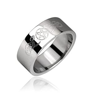Mystical  Magical Stainless Steel US Size 12 UK Size Y Engraved Pentacle Pentagram Celtic Tribal Symbol Comfort Fit Ring