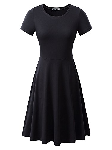 Women Short Sleeve Round Neck Summer Casual Flared Midi Dress X-Large Black