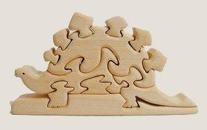木のおもちゃ   だいわ 立体パズル 恐竜
