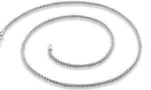 2.0mm Bright Shiny (Non-Rhodium) Italian .925 Sterling Silver Popcorn Chain Necklace 16in, 18, 20in (18 Inches)