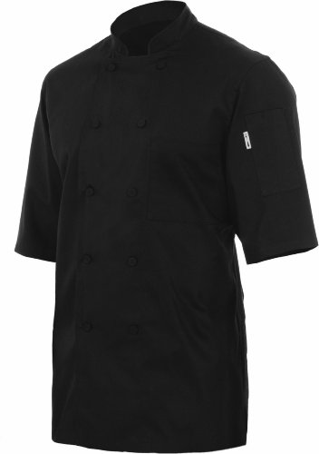 Chef Works JLCV-BLK Montreal Cool Vent Basic Chef Coat, Black, Small