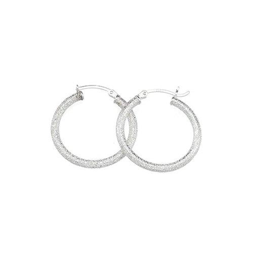Sterling Silver 25.5 MM Sparkle Hoop Earrings