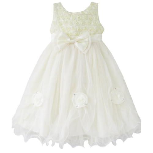 BY55 こどもドレス キッズドレス フラワードレス 花柄 結婚式 発表会 ローズ クリーム パーティー 140cm