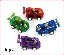 WD Pull Back Race Cars, 6-Piece, Assorted Color
