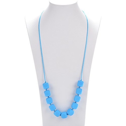 "Silli Me Jewels: ""Sugar-n-Spice"" - Teething Necklace with Cube-shaped Beads for Mom to Wear and Baby to Chew or Little Girls Dress-Up (Sky Blue)"