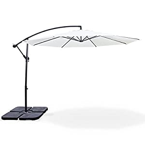 alice 39 s garden parasol d port rond 300cm hardelot ecru cr me manivelle anti retour. Black Bedroom Furniture Sets. Home Design Ideas