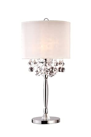 Modern crystal chandelier with white shade table lamp amazon com