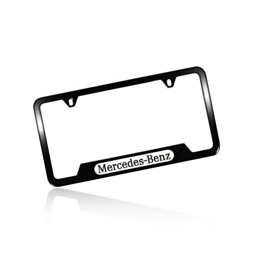 Mercedes benz chrome star logo on black steel license plate for Mercedes benz license plate logo
