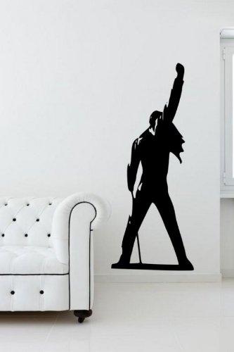 """Freddie Mercury, Queen-Silhouette adesiva da parete, grande, nero, Medium: 40cm x 100cm / 16"""" x 39"""""""