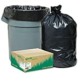 Earthsense RNW1TL80 Recycled Large Trash and Yard Bags, 33gal, .9mil, 32.5 x 40, Black (Case of 80)