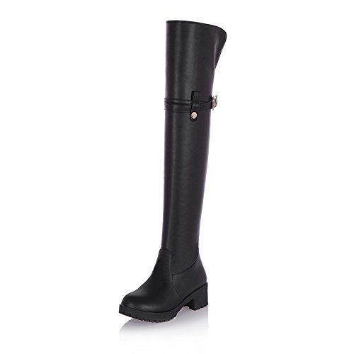Voguezone009 Womens Closed Round Toe Mid Heel Platform Pu Soft Material Short Plush Solid Boots, Black, 43