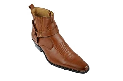 Alberto Fellini Mens Western-01 Country-Inspired Cowboy Faux Leather Ankle Boots,Brown,7.5