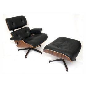Eames Lounge Chair Recliner Lounger and Matching Ottoman - Black Leather Walnut Wood Finish