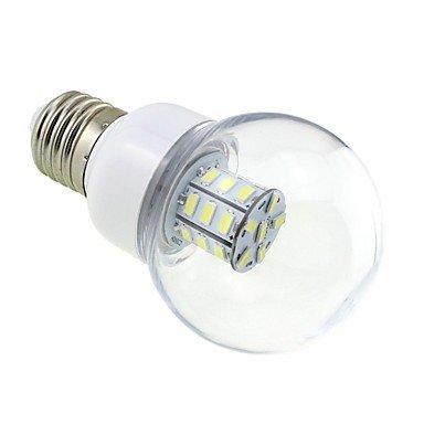 M.M E27 4W Led 27X5730 Smd 350~400Lm 5500~6000K White Light Globe Bulb With Clear Cover (Ac / Dc 12V ~ 24V)