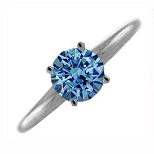 1 Carat Blue Diamond Ring - 18 Carat Gold - O , I1