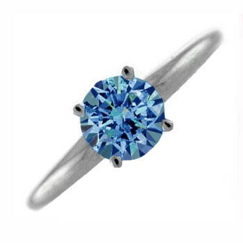 .25Ct Round Blue Diamond Solitaire Engagement Ring 14K Gold