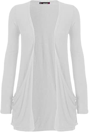 WearAll - Cardigan à manches longues - Blanc - 36-38