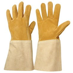 Expert premium washable suede leather gauntlet work for Gardening gloves amazon