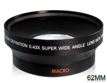 62 Mm 0.43X Super Wide Angle Lens With Macro For