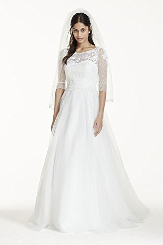 3/4 Sleeve Wedding Dress with Lace and Tulle Skirt Style WG3742, Ivory, 8