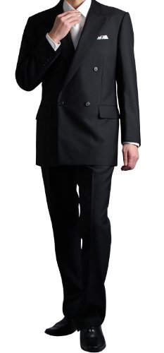 BLACK FORMAR 4ツ釦1ツ掛けフォーマルダブルスーツ(ブラック メンズ ウエストアジャスター調整機能付き 結婚式 冠婚葬祭 礼服 喪服 Wスーツ)(F5050-12)