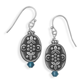 Oval Flower Earrings Antiqued Finish with Turquoise Color Crystal Double Sided
