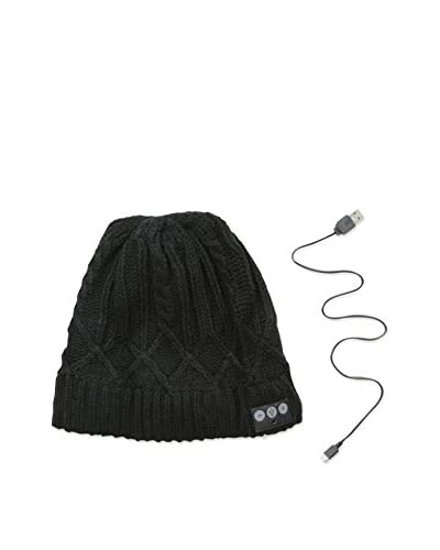 1 Voice Men's Bluetooth Cable Knit Beanie, Black