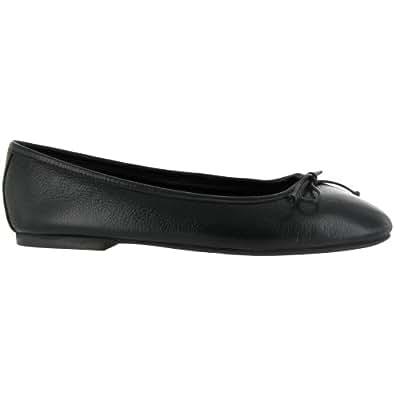 Riva Lulu Black Leather Ballerina / Womens Shoes (10 US