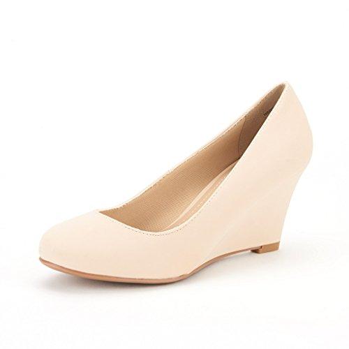 DREAM PAIRS WEDGY Women's Elegant Almond Toe Mid Heel Wedge Pumps Slip On Shoes