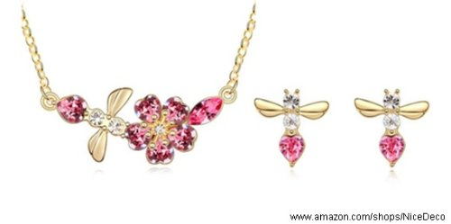 Nicedeco Je-Sw-Tz006-Rosered,Swarovski Elements Austrian Crystal Jewelry Sets,The Whispers Of Cherry Blossom/Sakura ,Necklace And Earring(2-Piece Set),Elegant Style And Exquisite Craftsmanship