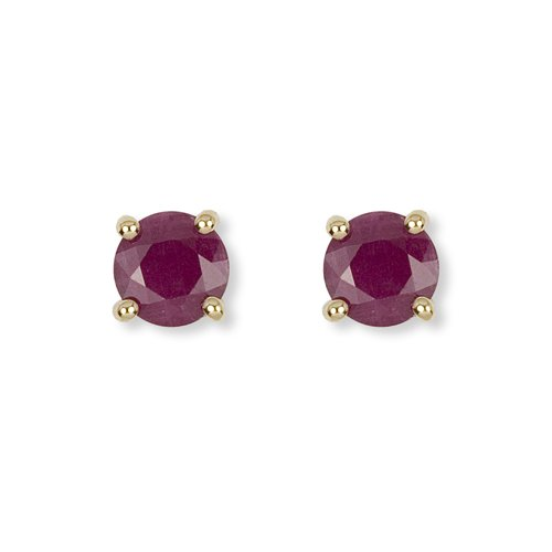 9ct Yellow Gold Ruby Round Stud Earrings