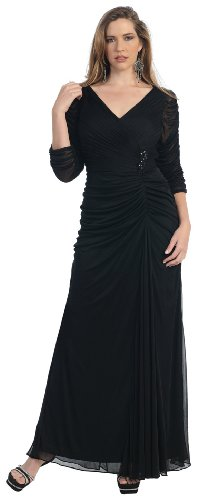 Mother of the Bride Formal Evening Dress #881 (2XL, Black)