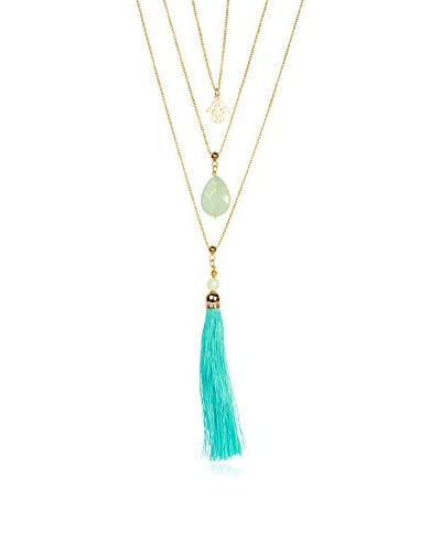Saachi Gold-Tone Triple-Layer Jade & Tassel Necklace