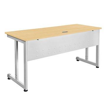 "Chiantello Desk with Modesty Panel - 60""W x 24""D (Maple Laminate Top/Silver Base)"