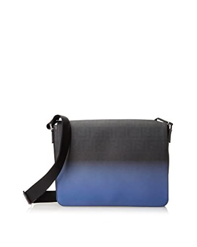 Fendi Men's Zucca Messenger Bag, Black/Cobalt Blue