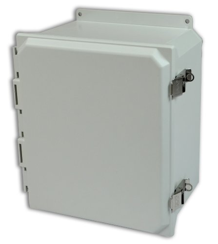 Allied Moulded Amu1426Lf Ultraline Series Fiberglass Jic Size Junction Box, Snap Latch And Hinged Cover With Mounting Flanges And Opaque Cover