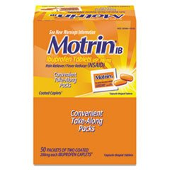 Motrin Ibuprofen Individually Wrapped Medication, 50 Doses of Two Tablets, 200mg