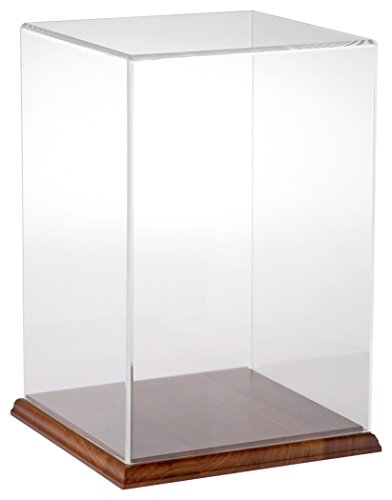 Plymor Brand Clear Acrylic Display Case with Hardwood Base, 8