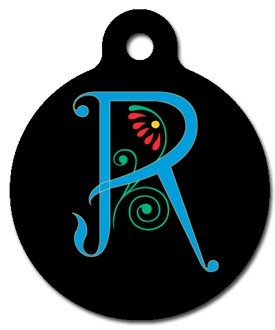 Monogram Letter R Pet ID Tag for Dogs and Cats