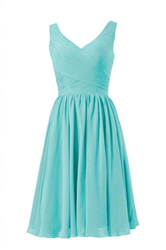 Daisyformals Short Deep V-Neckline Chiffon Bridesmaid Dress(Bm5196S)- Tiffany Blue