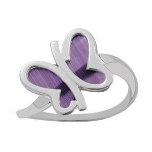 anillo en plata y rodio con mariposa