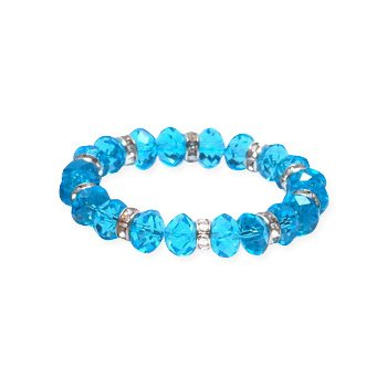 LovingtheBead © Turquoise colour crystal 'One-Size-Fits-Most' stretchy bracelet