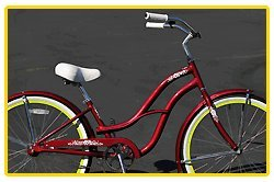 Aluminum Alloy Anti-Rust Frame, Fito Brisa Alloy 1-speed - burgundy/green, women's 26