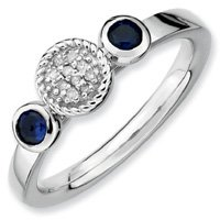 0.33ct Silver Stackable Db Round Sapphire & Diamond Ring. Sizes 5-10 Available