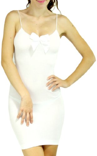 ToBeInStyle Women's Low-Cut Mini Dress w/ Bow – One Size – White