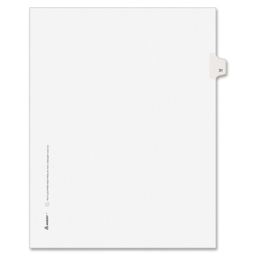 Avery Legal Dividers, Premium Individual Tab Titles, Letter Size, Side Tabs, #31, Pack of 25 (01031) kitave82202unv20630 value kit avery allstate style legal side tab divider ave82202 and universal perforated edge writing pad unv20630